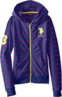 US Polo Association Big Girls' Striped French Terry Hooded Jacket