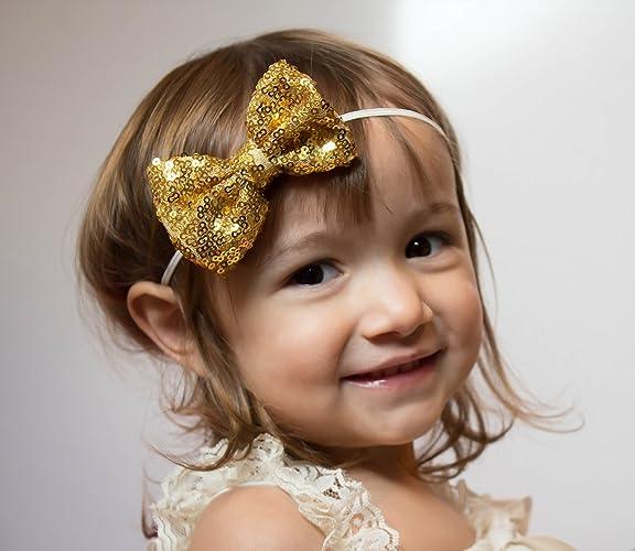 Amazon.com  Gold handmade sequin bow aa0b70f0c90