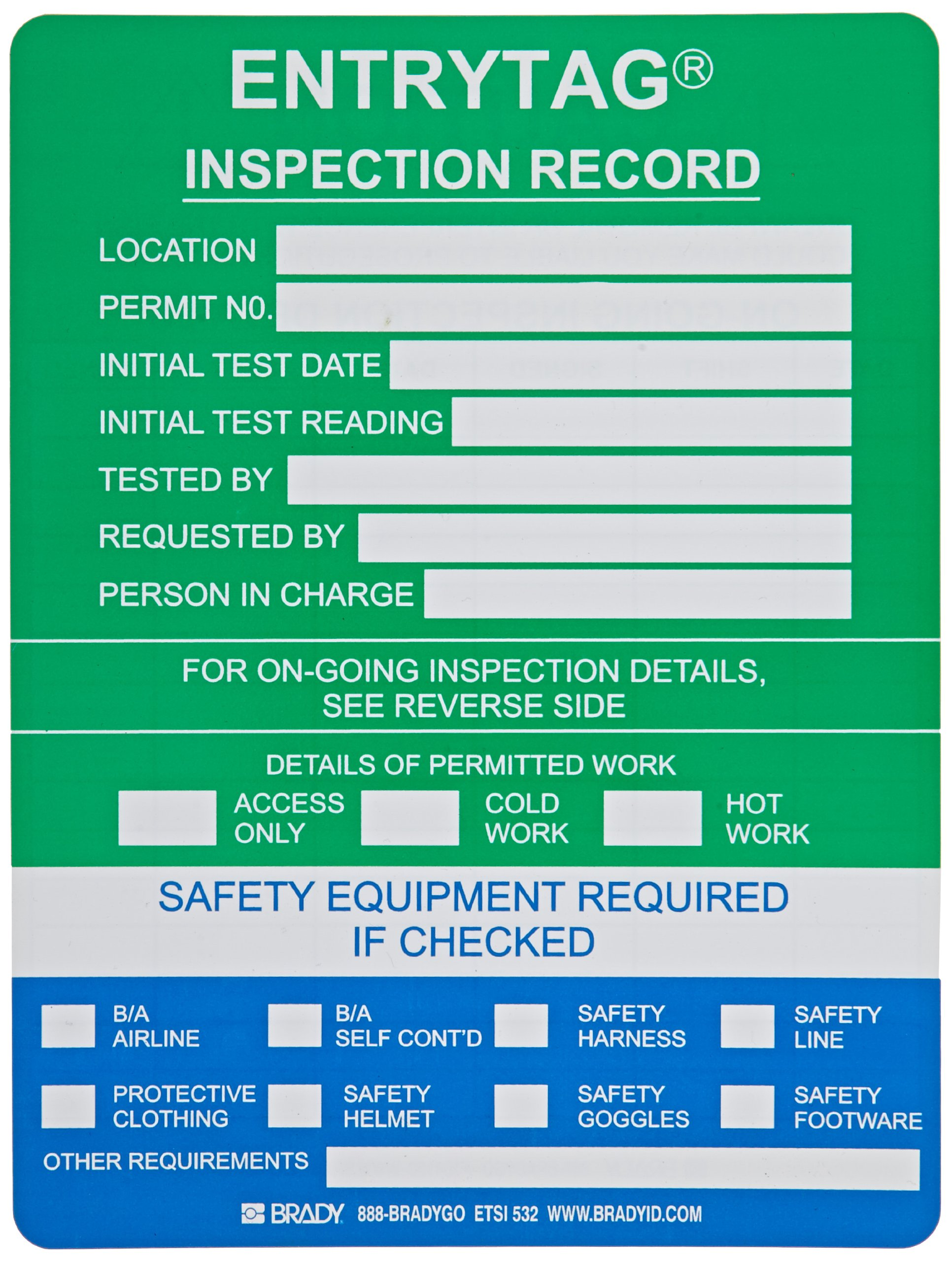 Brady ENT-ETSI532 5-3/4'' Height, 7-5/8'' Width, Vinyl, Green Color Entrytag Standard Inserts (Pack Of 100)