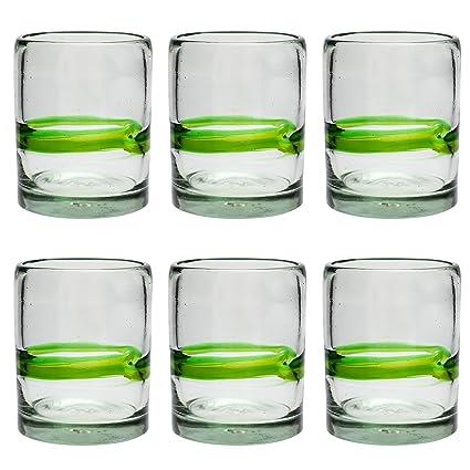 Vaso Tumbler Artesanal – Vidrio Reciclado – Verde Mezclado - Juego de 6