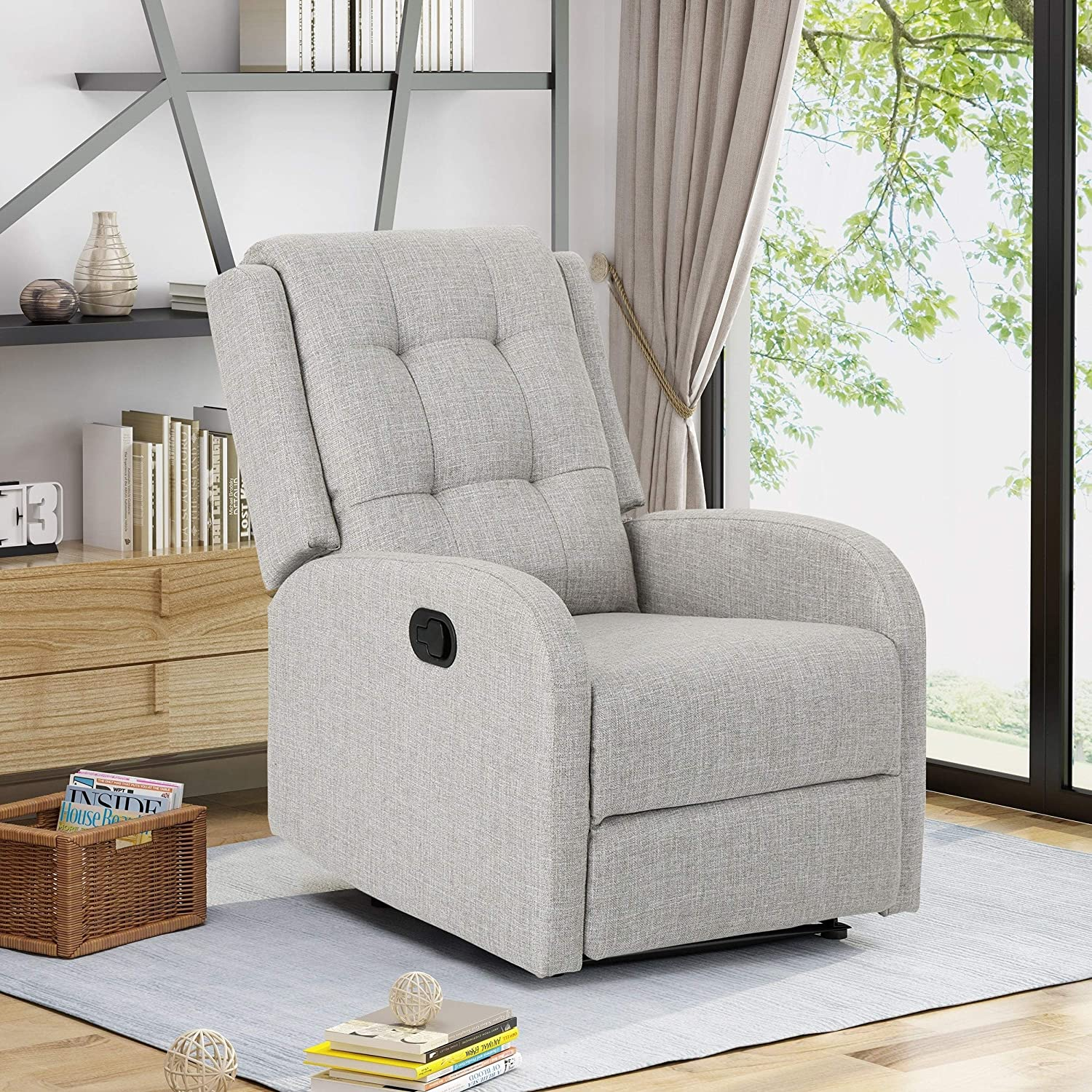 Noble House OLeary Upholstered Recliner in Beige and Black