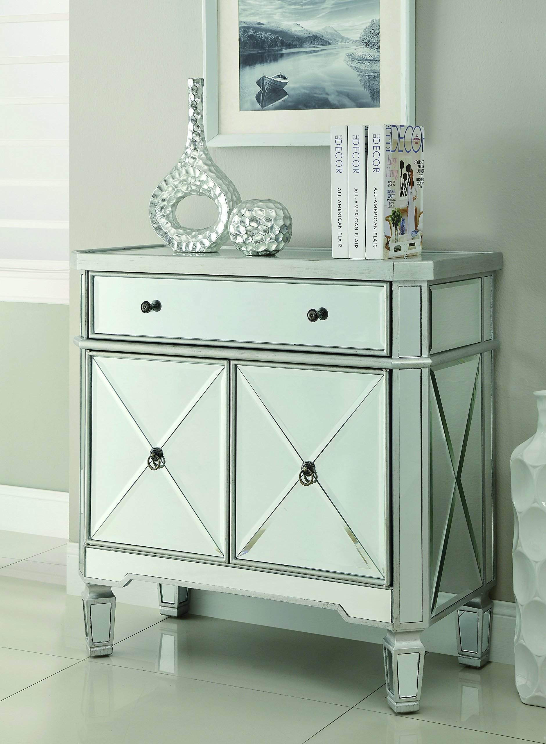 Mirror Panel 2-Door Wine Cabinet with Removable Wine Rack Silver by Coaster Home Furnishings