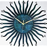 3dRose DPP_50576_2 Earthy Green Sun-Astronomy-Art-Wall Clock, 13 by 13-inch