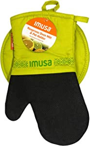 Imusa Oven Mitt & Potholder Set w/Neoprene for Easy Gripping, Heat Resistant up to 500 Degrees, Multiple Colors Available! (Green)