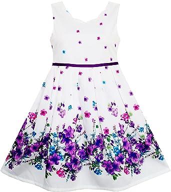 Sunboree Mädchen Kleid Lila Sonnenblume Grün Blätter Schmetterling ...
