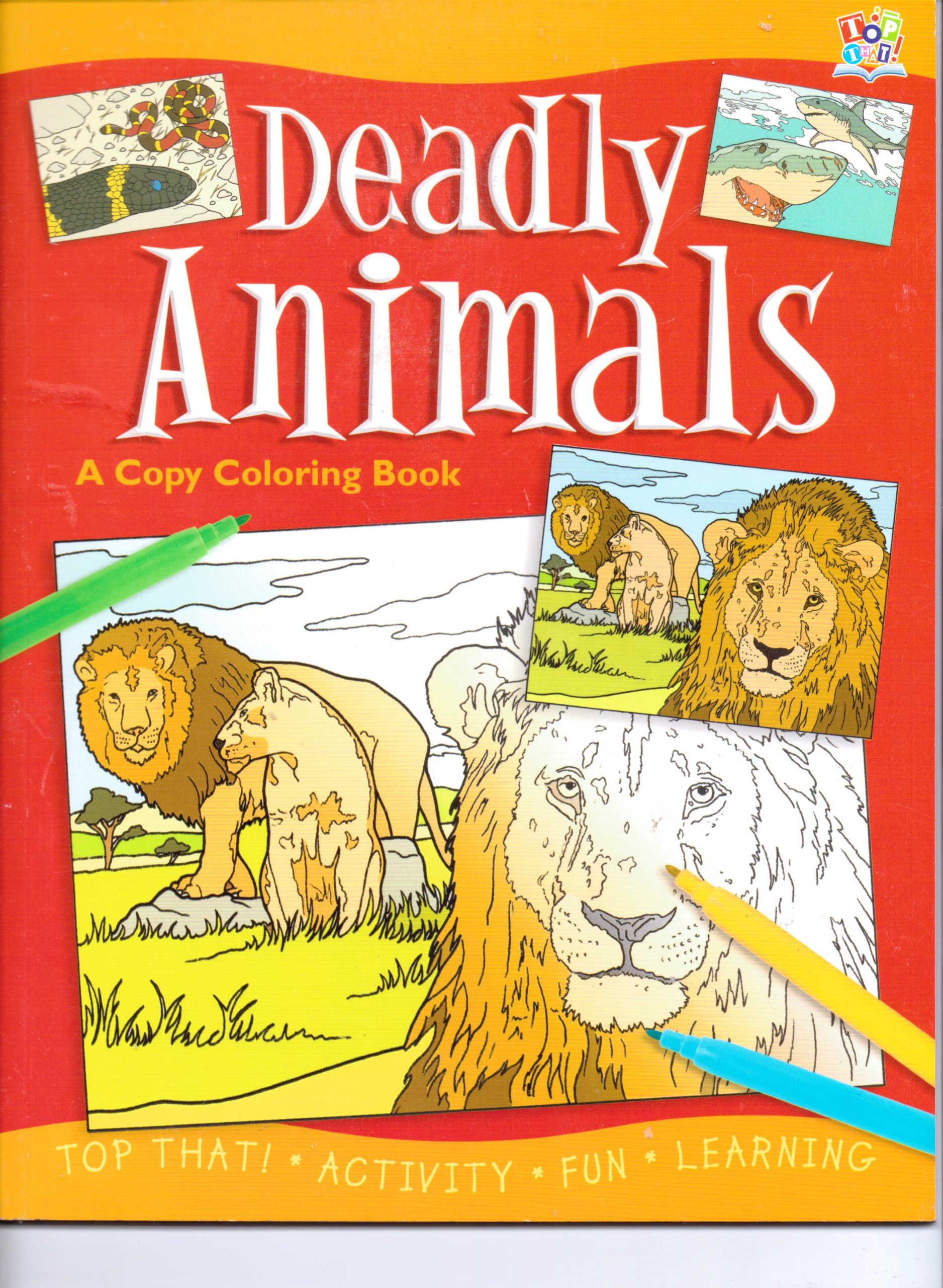 Deadly animals a copy coloring book paperback 2012