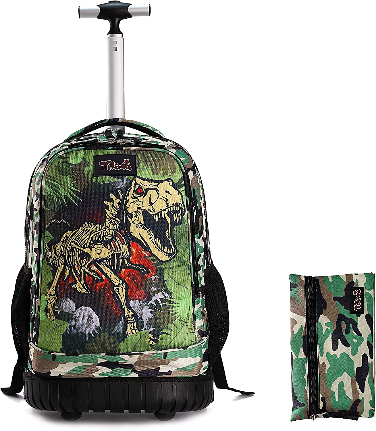 Tilami Rolling Backpack 18 inch with Pencil Case Wheeled Laptop Bag, Dinosaur Camouflage