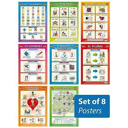 Amazoncom Spanish Basics Posters Set Of 8 Spanish Posters