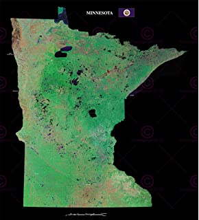 Map County Satellite Usa State Flag Minnesota Large Replica Poster Print Pam1379