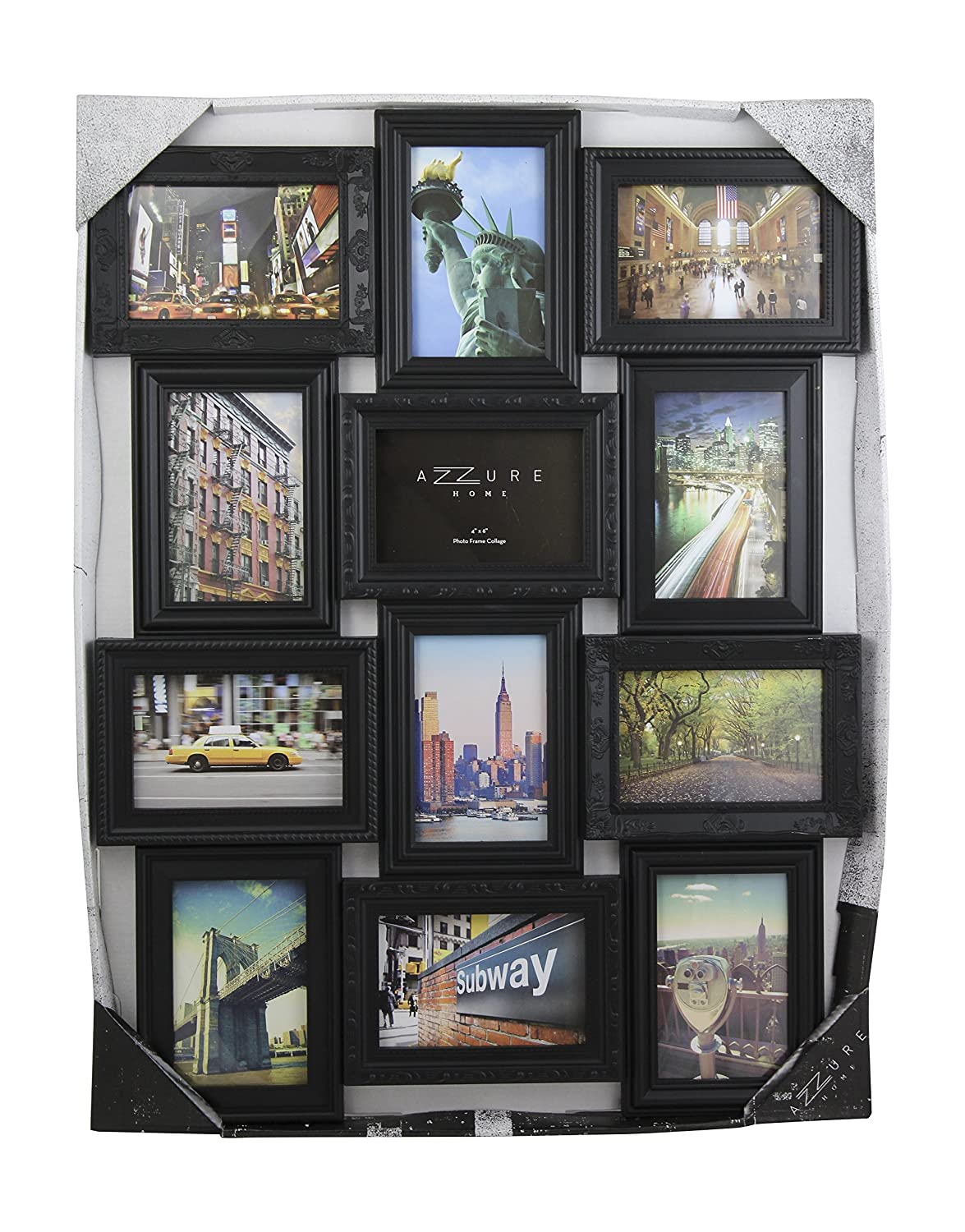 12 Opening 4x6 Embossed Collage Frame (Black) Azzure Home AF442BK
