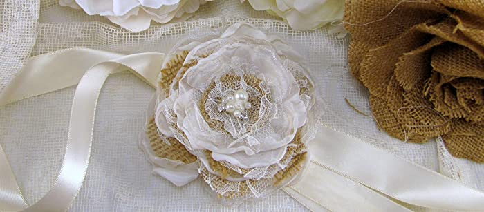 burlap wedding corsage fabric flower corsage wrist corsage bridal accessory rustic flower