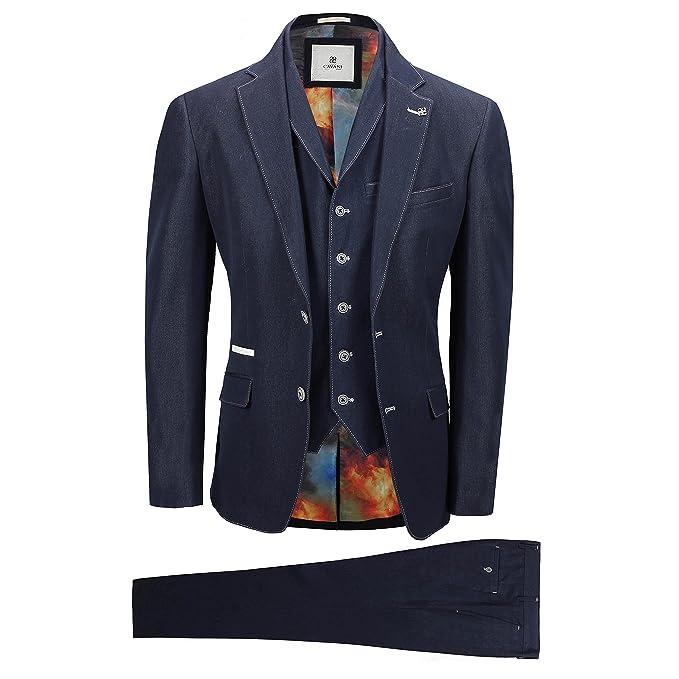 Amazon.com: Cavani traje de hombre 3 piezas azul marino tela ...