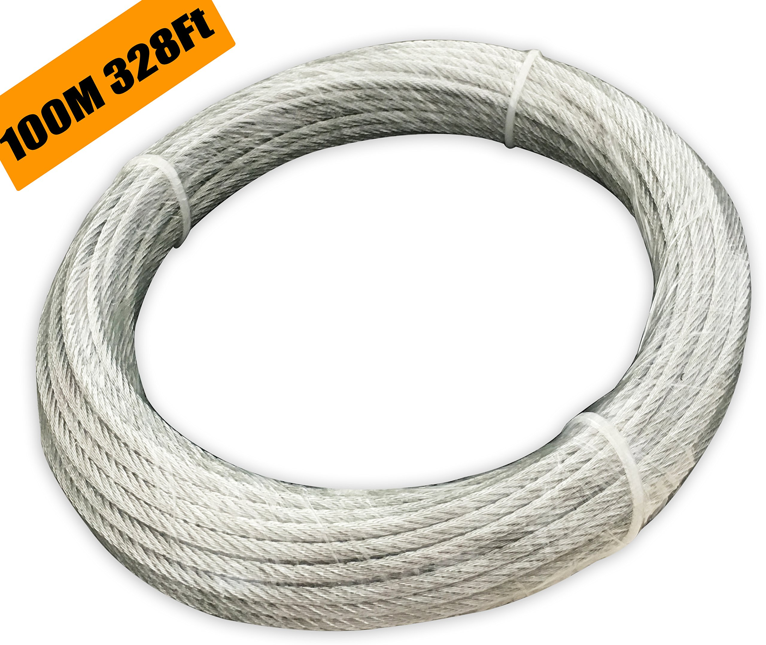 Muzata Galvanized Wire Rope Aircraft Cable for Railing,Decking, DIY Balustrade, 1/8Inch,7x7,330Feet