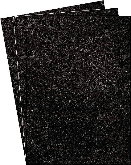 Fellowes Portadas para encuadernar de cartón símil piel Delta Cuero, extra rígido, 250 micras, 100% reciclables, formato A4, con certificación FSC, pack de 100, color negro: Amazon.es: Oficina y papelería