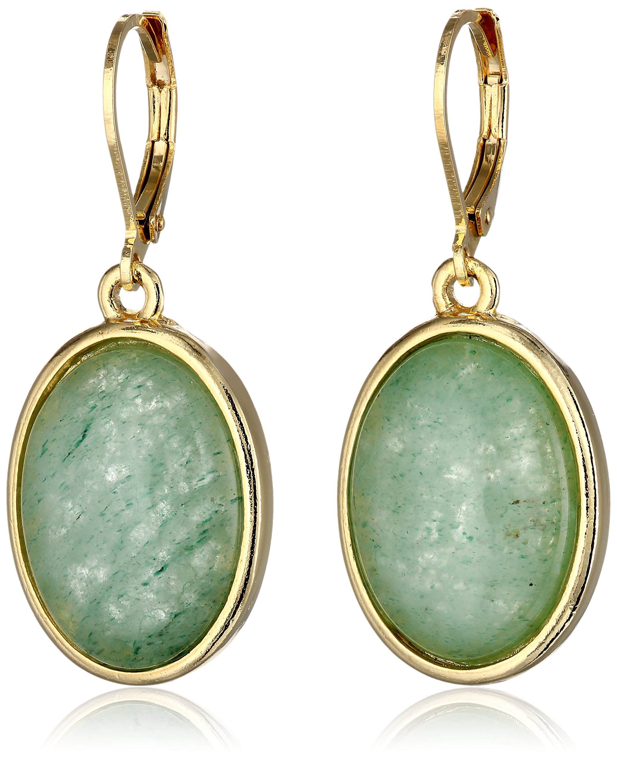 """1928 Jewelry """"Semi-Precious Collection"""" 14k Gold Dipped Oval Drop Earrings"""