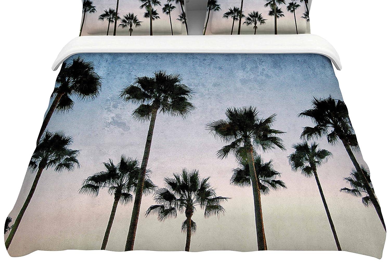 88-Inch Kess InHouse Richard Casillas Paradise Palms Blue Pink Queen Cotton Duvet Cover