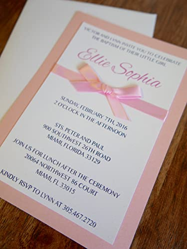 amazon com girl baptism invitation with bow handmade baptism
