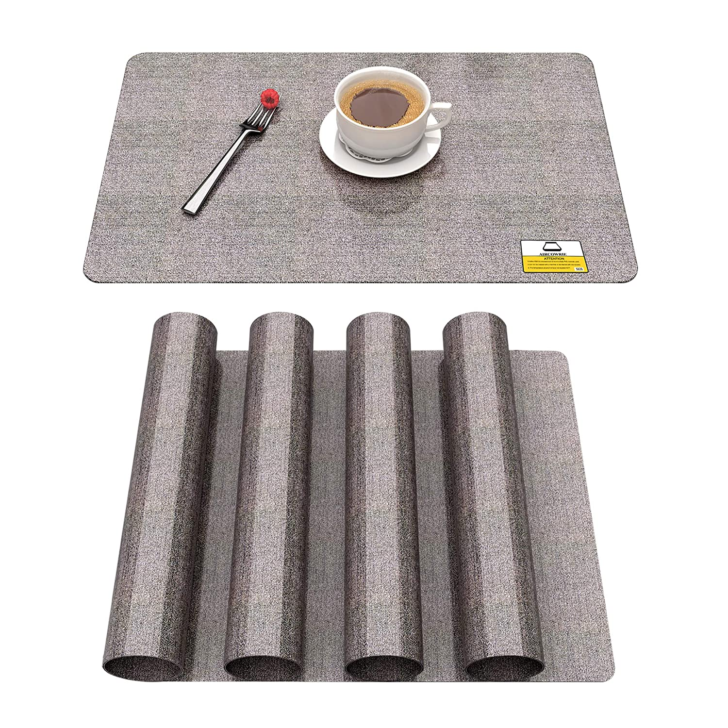 AIRCOWRIE Placemats Heat-Resistant Placemats Non-Slip Stain Resistant Washable Vinyl Table Mats for Tabletop Protection and Decoration 17.5x12 Inches Set of 4/6