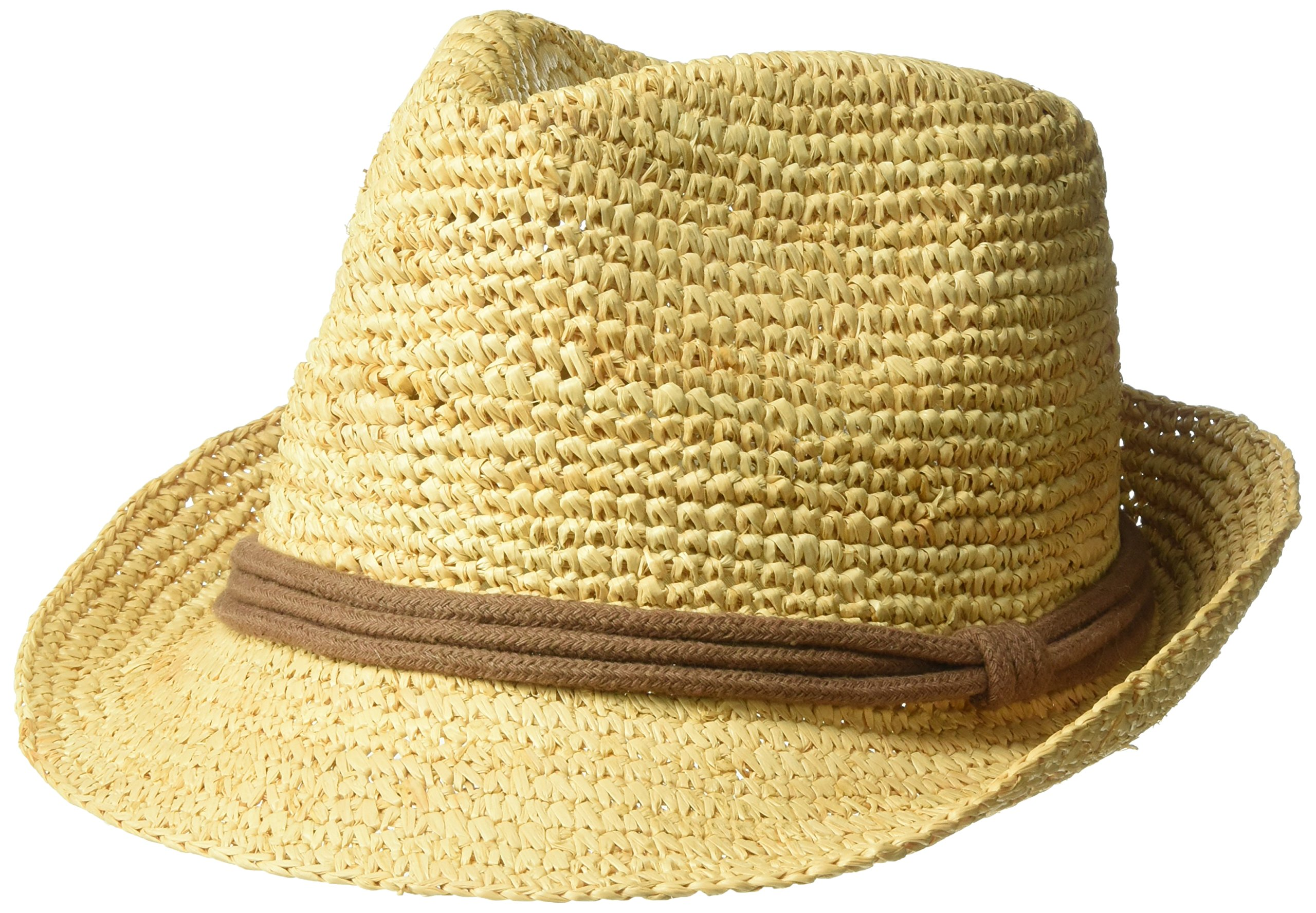ale by Alessandra Women's Marin Crochet Raffia Fedora Sunhat Packable & Adjustable, Natural/Brown, One Size