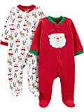 Simple Joys by Carter's Girls' 2-Pack Christmas Fleece Footed Sleep and Play