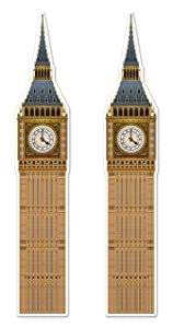 """Beistle 54748, 2Piece Jointed Big Ben Cutouts, 71"""", Multicolored"""