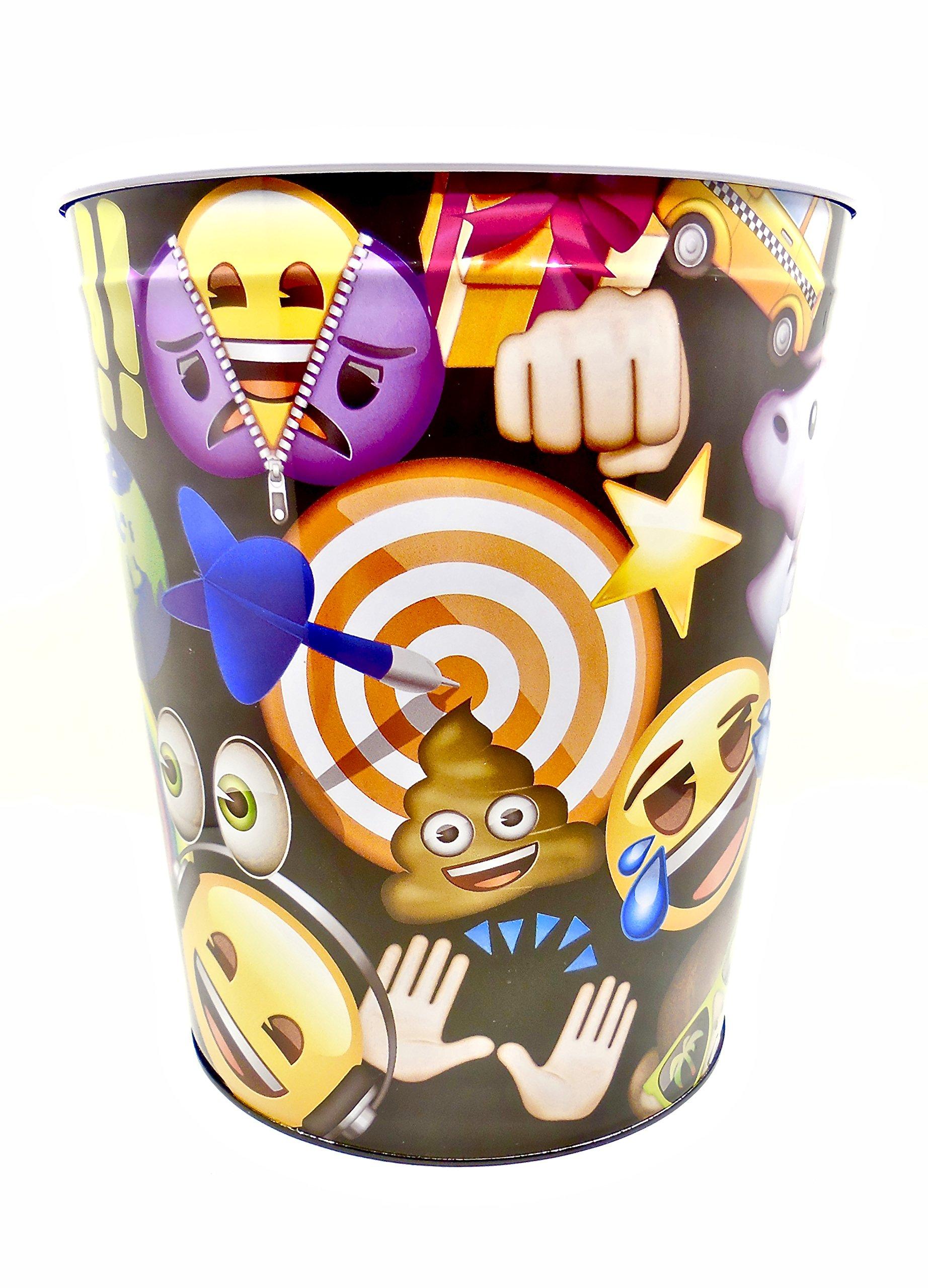emoji Wastebasket,Colorful, Tin (Black Bullseye