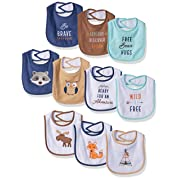 Hudson Baby Drooler Bib, 10 Pack, Woodland Creatures, One Size