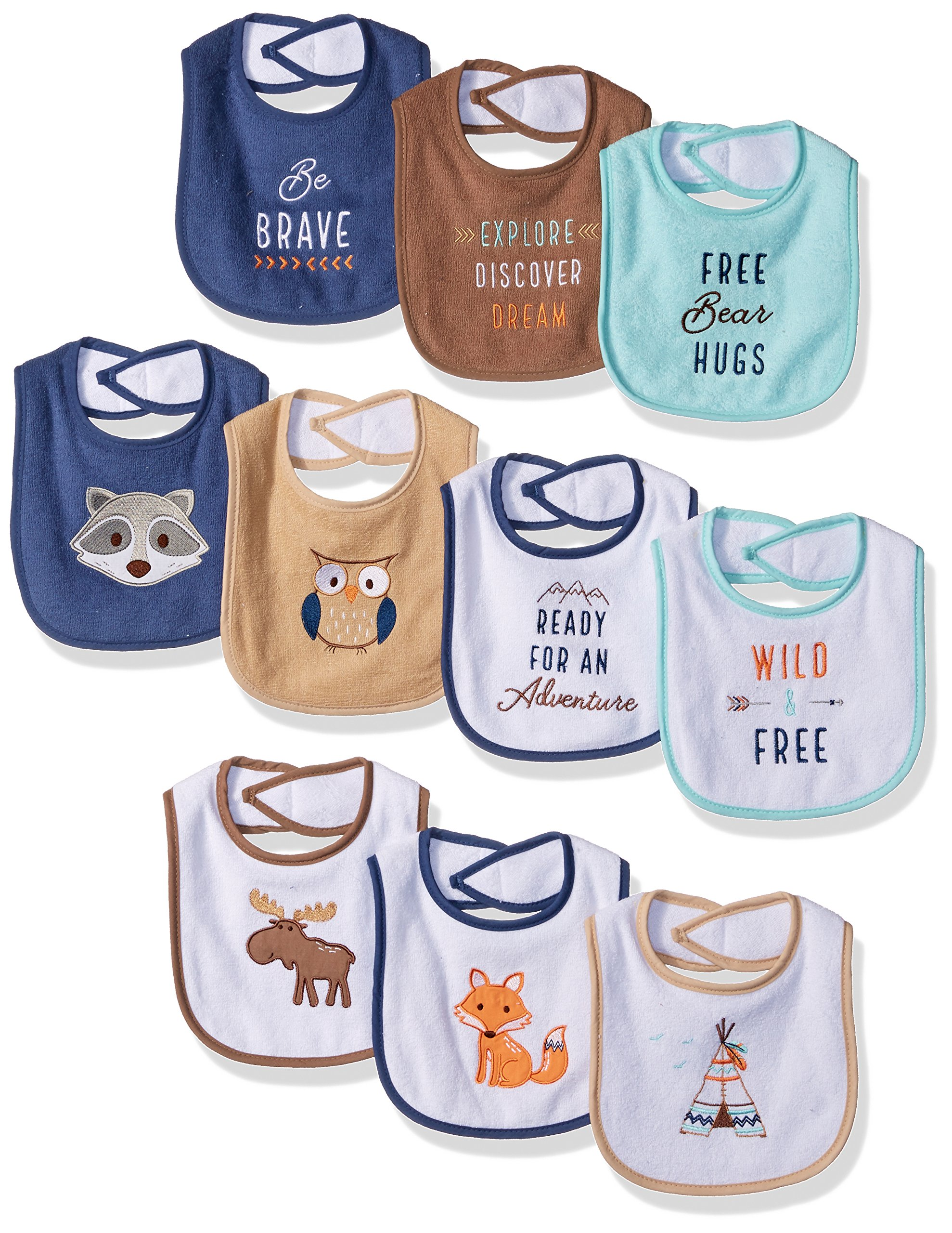 Hudson Baby unisex-baby Cotton Terry Drooler Bibs With Fiber Filling