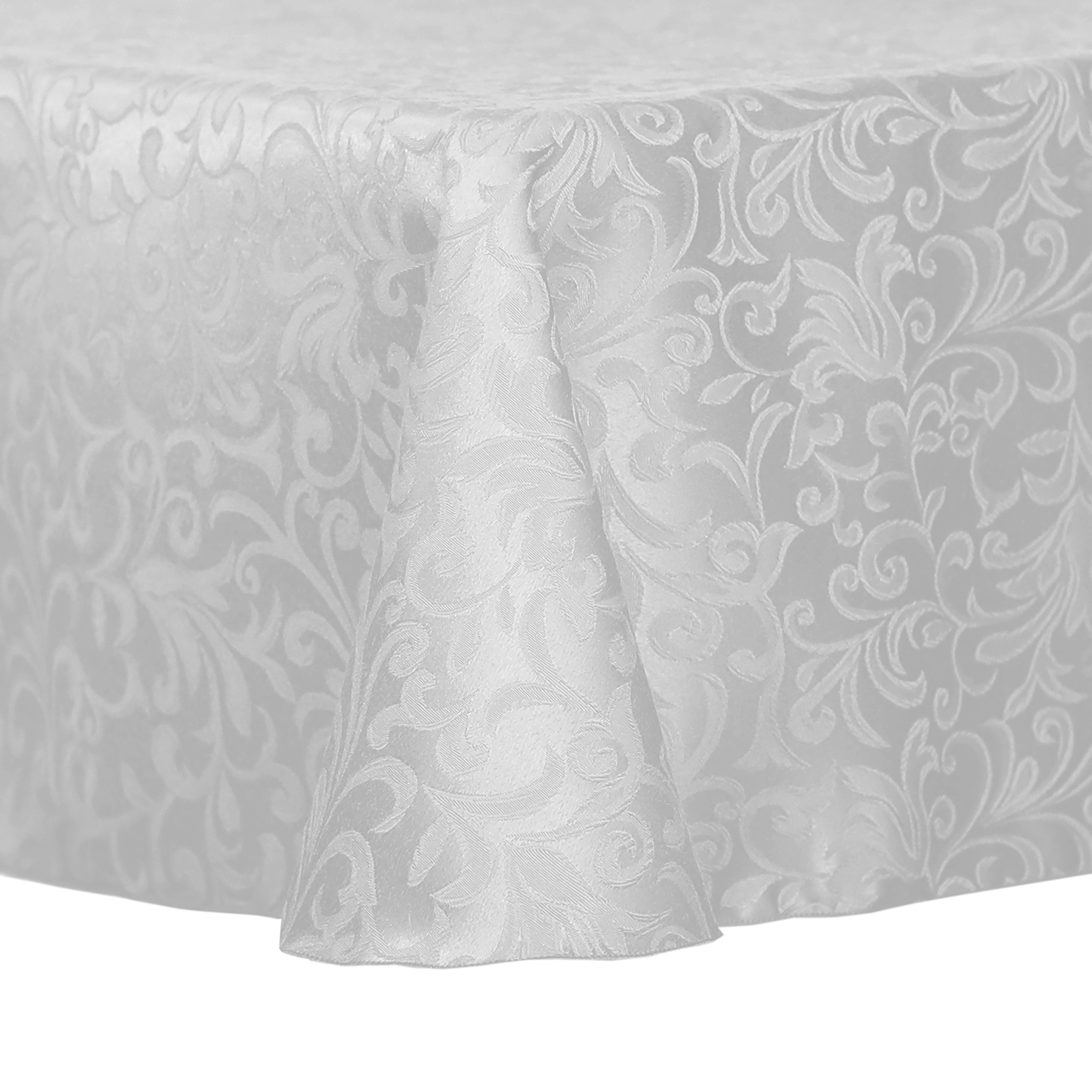Ultimate Textile (10 Pack) Damask Somerset 108 x 156-Inch Oval Tablecloth - Home Dining Collection - Scroll Jacquard Design, White
