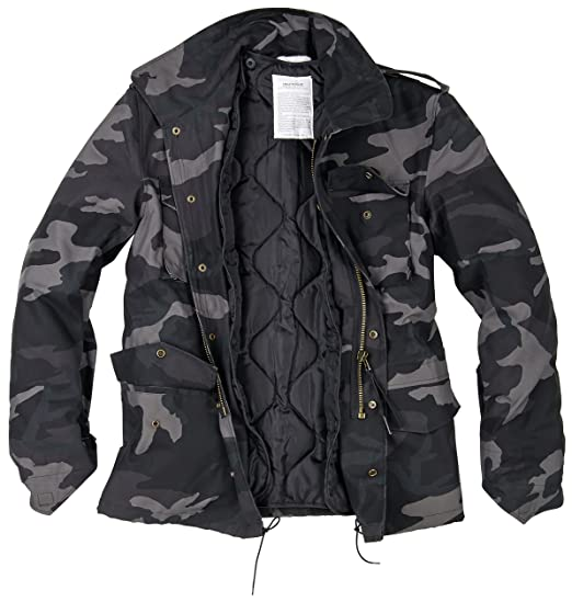 84f0f4fce349 Surplus Men s US Field Jacket M65 Black Camo  Amazon.co.uk  Clothing
