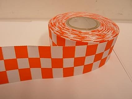 2 metri x 38 mm tessuto nastro del grosgrain lucido rosso arancio e