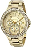 Vince Camuto Women's VC/5178CHGB Swarovski Crystal Accented Multi-Function Gold-Tone Bracelet Watch