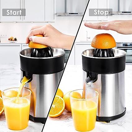 aicok frío zirusp eléctrica 85 W Exprimidor Fruta Exprimidor con 2 entsaftungs, conos Acero Inoxidable cirusp calor para naranjas, limones, limas, ...