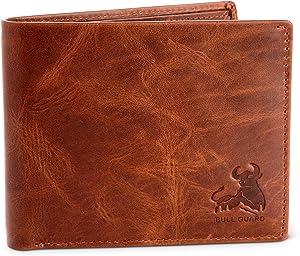 Bull Guard Mens RFID Blocking Bifold Wallet Soft Genuine Leather Brown Western