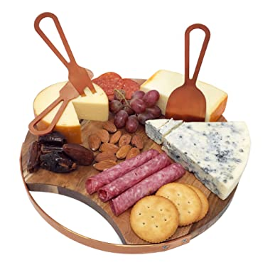 Choosy Chef Magnetic Cheese Board & Utensils (Brushed Copper)