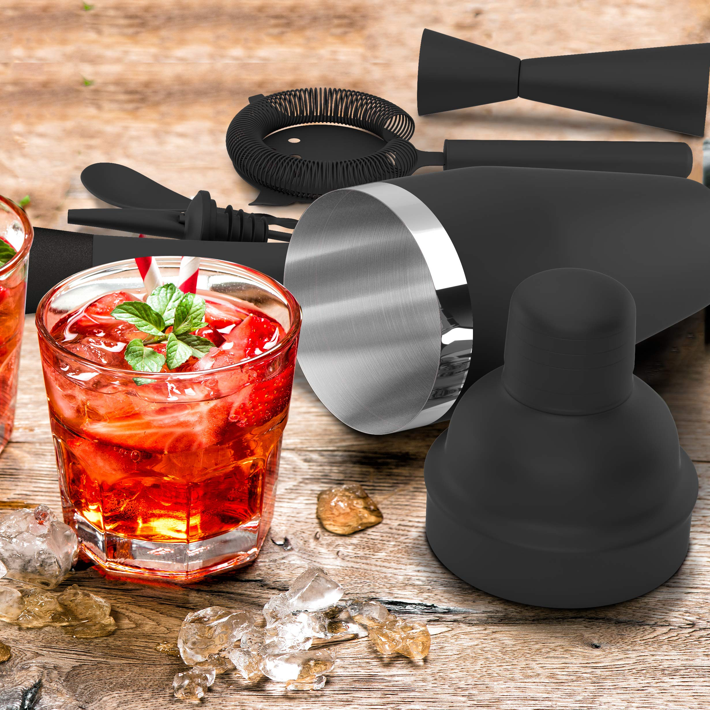 All-inclusive Bar Set | Professional Home Bartender Cocktail Shaker Set | Includes a Recipe Book & All Necessary Bar Tools and Accessories | Impressive Gift for Men! (Matte Black) by Royexe (Image #3)