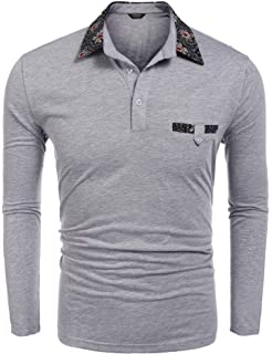 648d7a59bc3a COOFANDY Mens Polo Shirt Long Sleeves Slim Fit Contrast Collar Cotton  Classic T Shirts