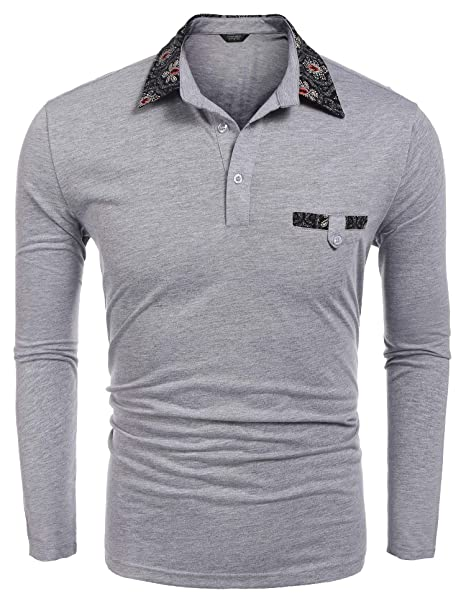 92ace45e1 COOFANDY Mens Contrast Color Slim Fit Long Sleeves Button Down Polo Shirt  (Small, Grey2