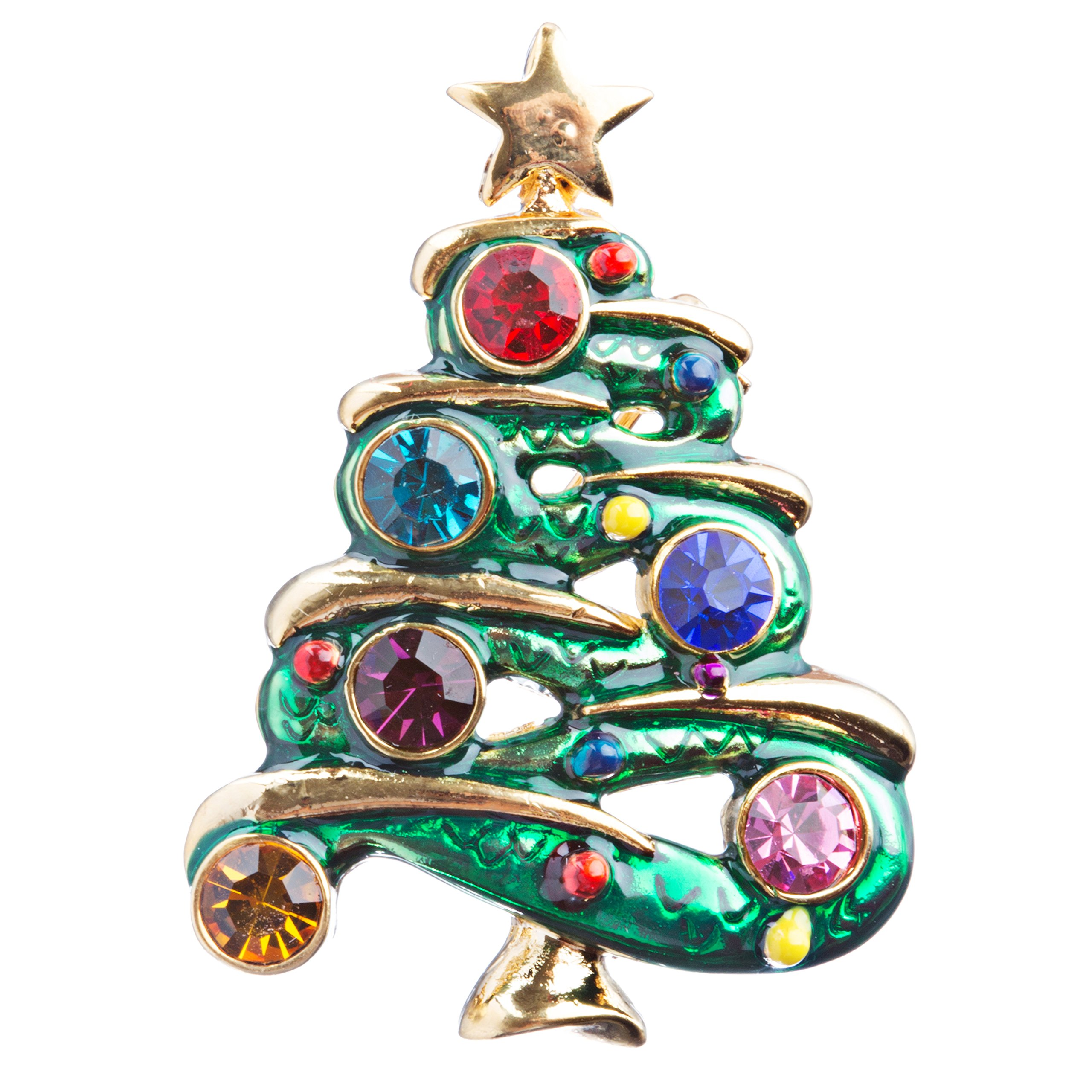 ACCESSORIESFOREVER Christmas Jewelry Crystal Rhinestone Beautiful Decorated Tree Brooch Pink BH122