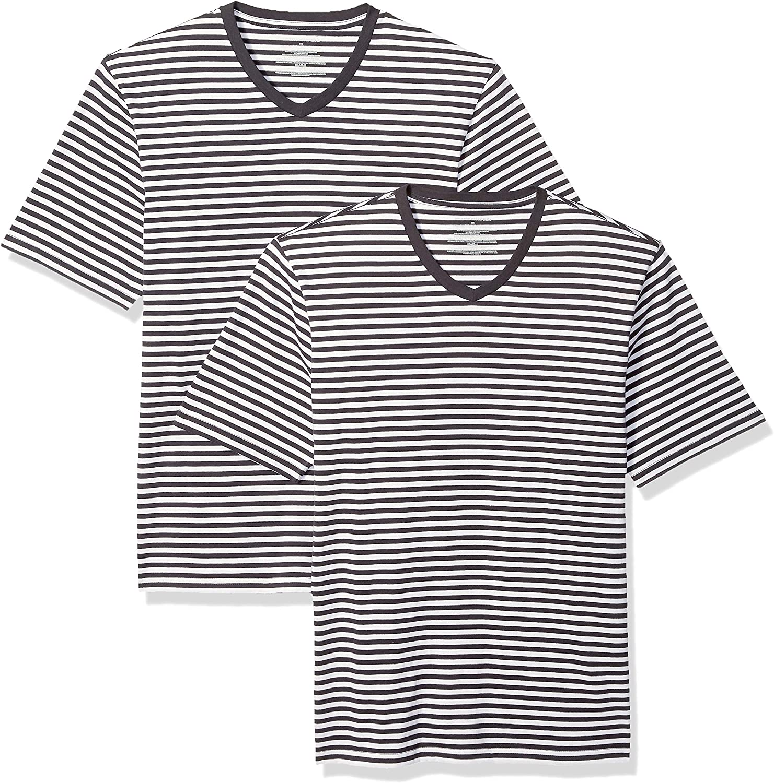 Essentials Men's Loose-fit Short-Sleeve Stripe V-Neck T-Shirts: Clothing