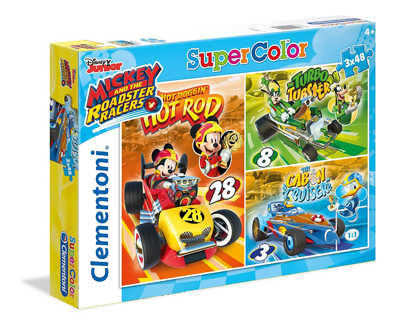 Clementoni - 25227 - Supercolor Puzzle - Mickey and The Roadster Racers - 3x 48Pièces - Disney