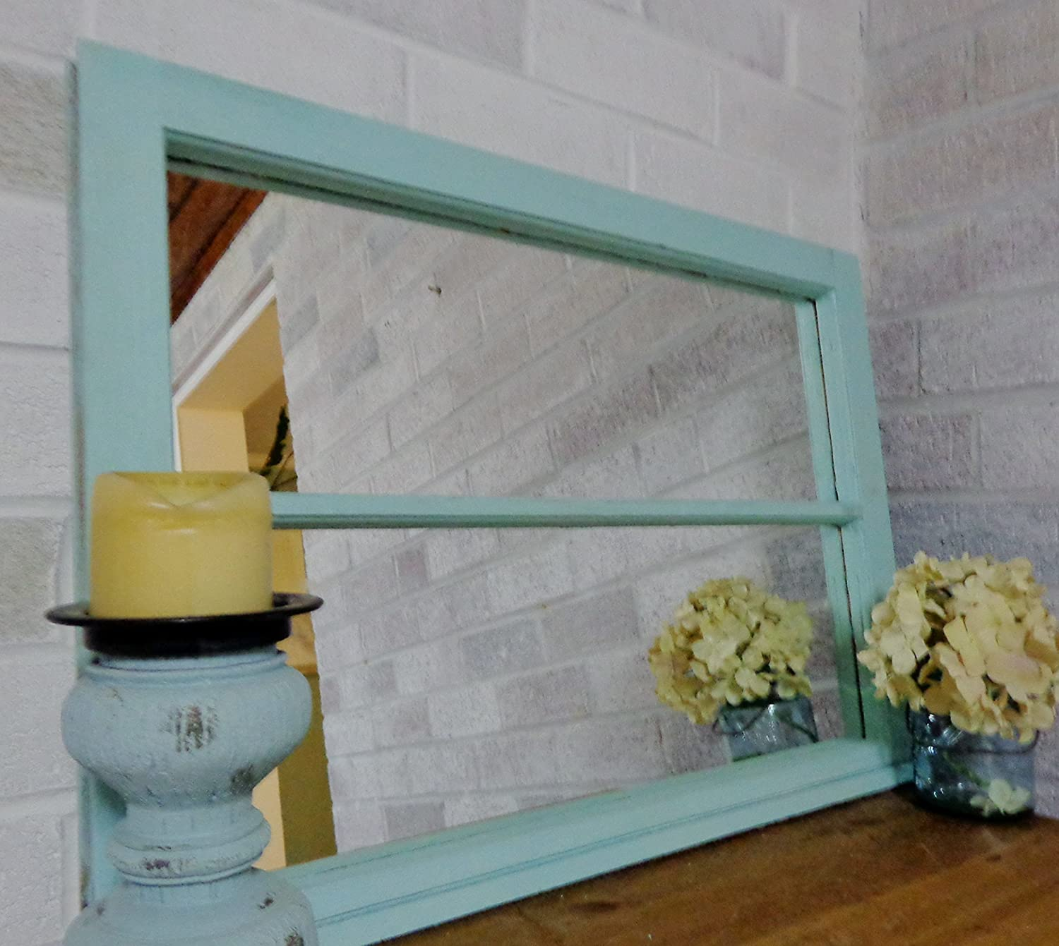 Renewed Decor Window Pane Mirror Featuring 2 Panes - Mirror - 24x31 inch Wall Mirror - salvaged window - reclaimed window - distressed window - painted mirror- unique mirror