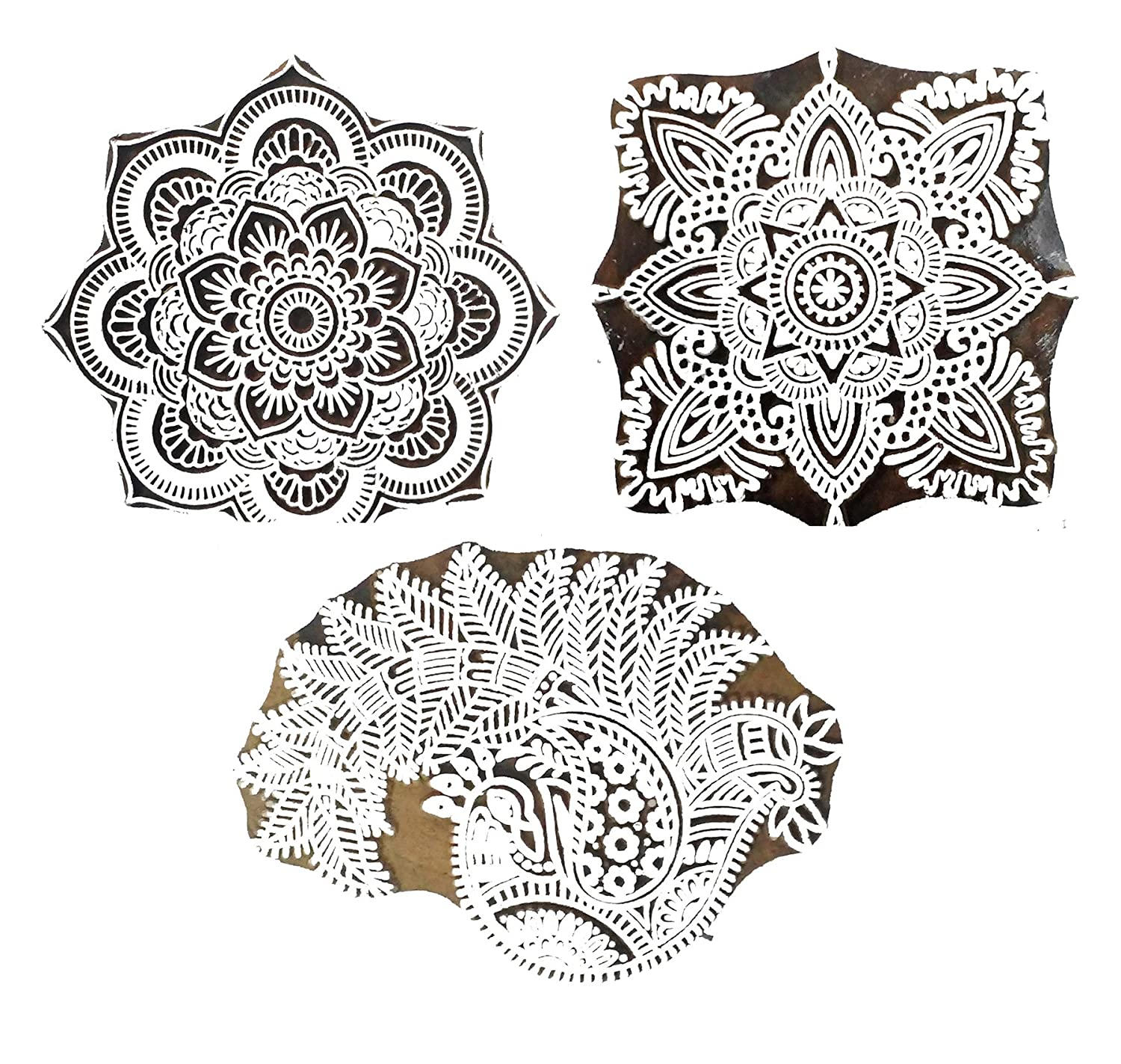 Round Flower Wood  Clay Pottery Soap Stamp Hand Carved Fabric Henna Textile Indian Print Block