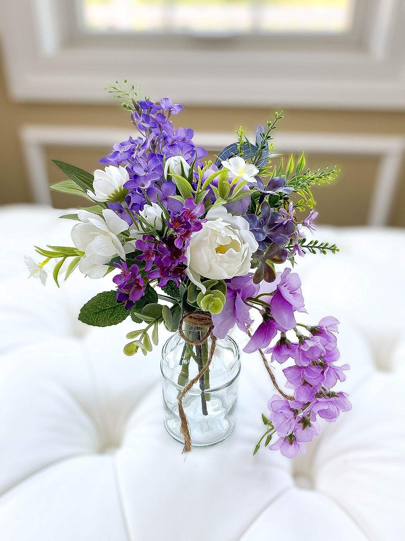 Amazon Com Silk Flower Arrangement In Small Glass Vase Purple Floral Arrangement Birthday Gift Mother S Day Gift Bridal Shower Office Deco Handmade