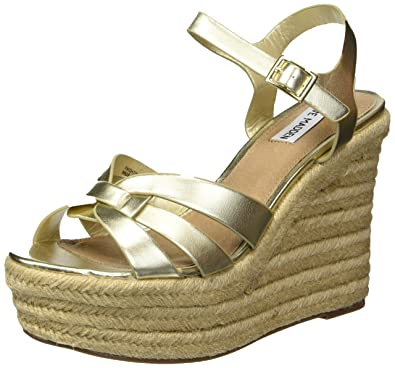 b386a90cfe56 Steve Madden Women s Knight Wedge Sandal Gold 8 M US