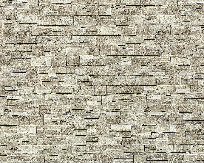 Papel pintado no tejido XXL EDEM 918-34 con relieve aspecto piedra natural piedra de cantera gris claro gris natural 10,65 qm