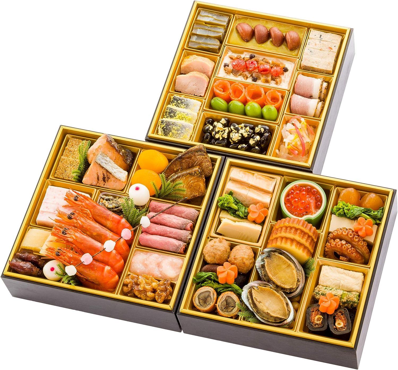富山 千里山荘 おせち料理 2021 三段重 45品 盛り付け済み 冷凍おせち 約4人前 お届け日:12月30日