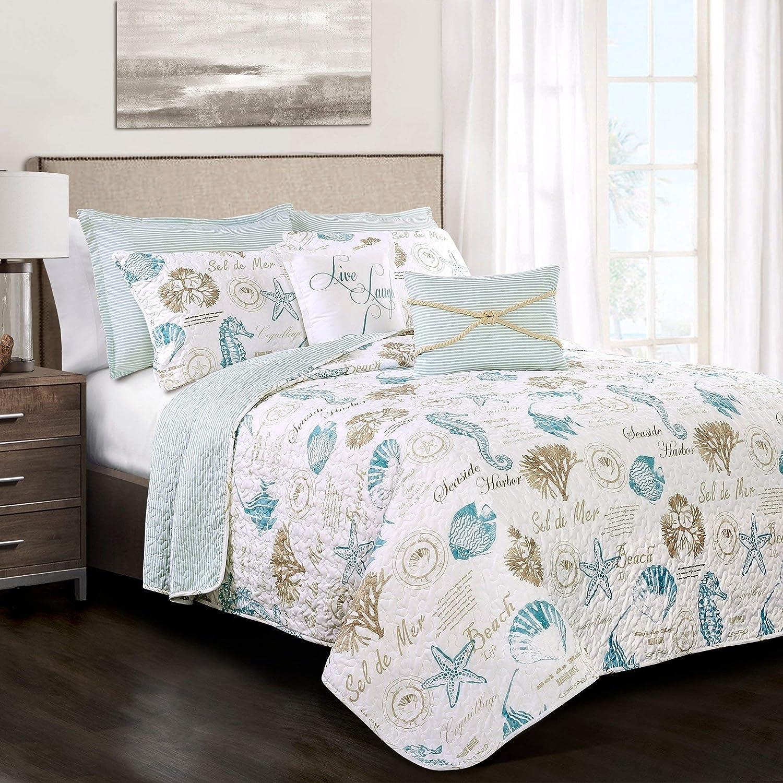 3 Piece White Blue Starfish Themed Quilt Full Queen Set Coastal Bedding