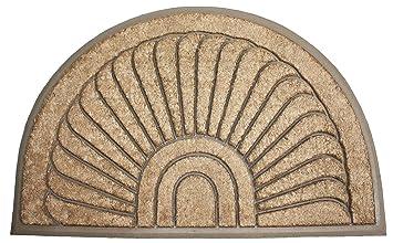 Attirant J U0026 M Home Fashions Half Round Sunburst Coco U0026 Rubber Doormat, 18 By 30u0026quot