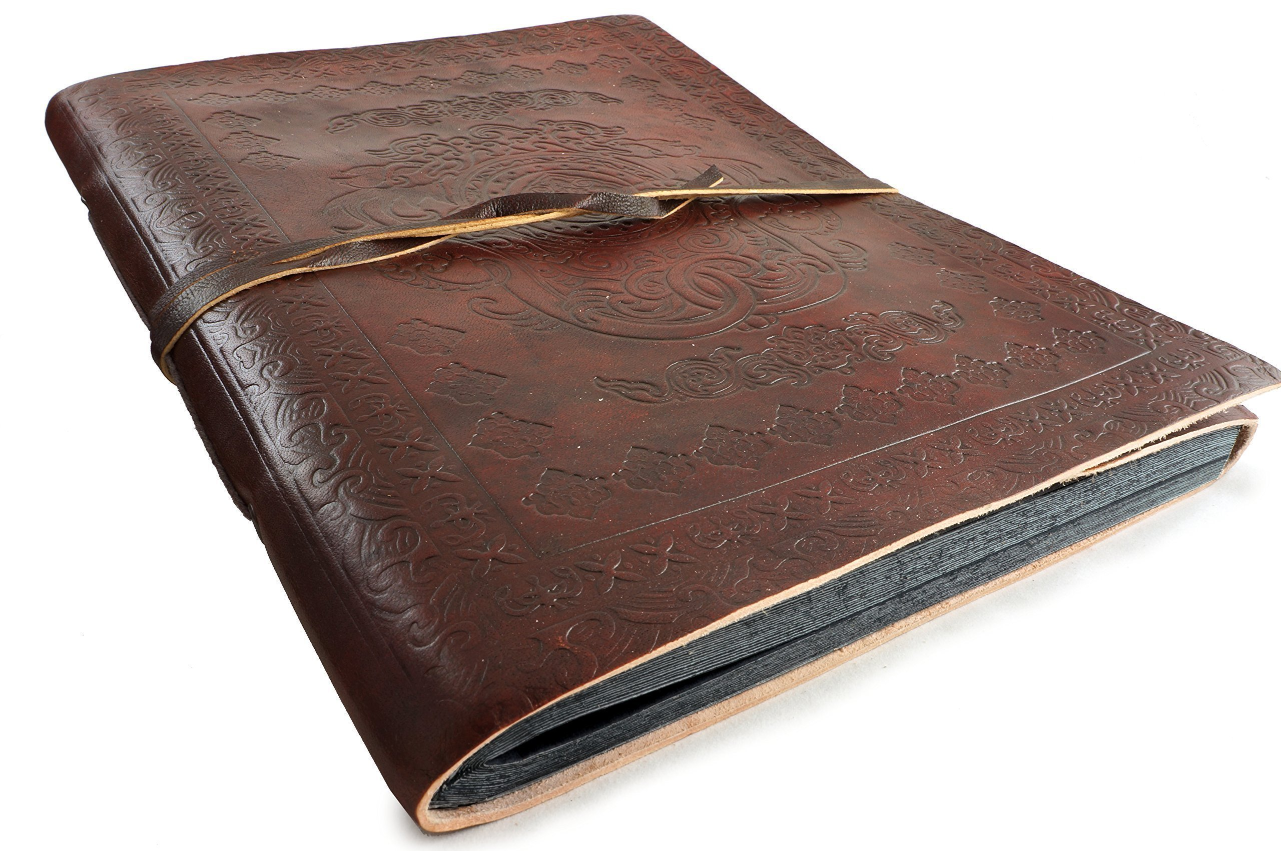 Large Leather Photo Album Vintage Classic Rustic 12'' x 10'' Handmade Paper 40 Sheets